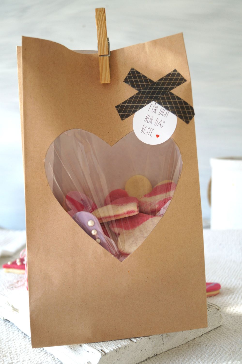 Herzkekse zum verschenken Verpackung DIY